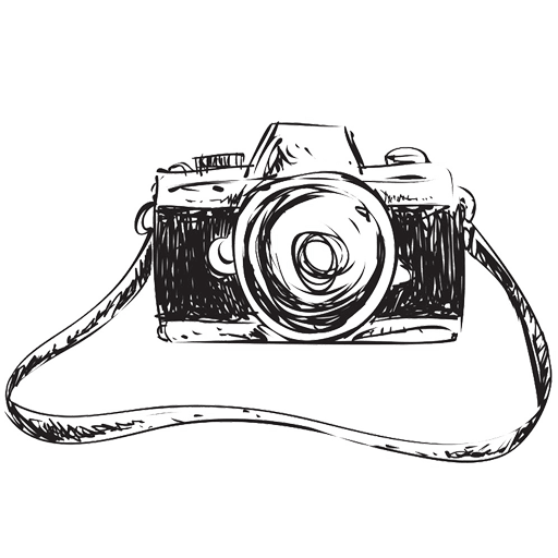 手繪線稿相機代表婚禮錄影拍攝技術的意象表現