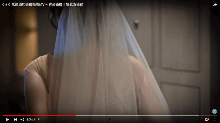 新娘背影頭紗攝於萬豪酒店