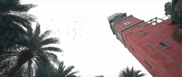 黃色氣球在天空,維多麗亞酒店證婚儀式活動汽球放飛活動