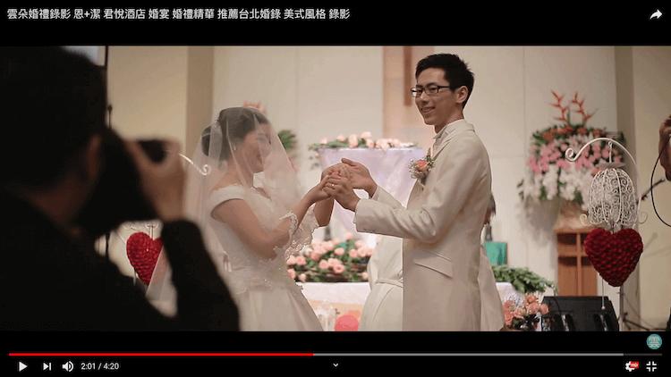 新人在教會證婚台前秀出戒指