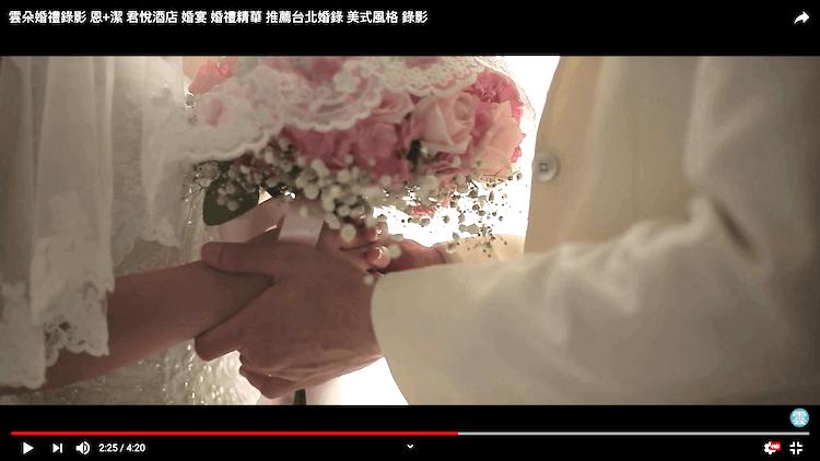 新郎雙手握著拿捧花的新娘