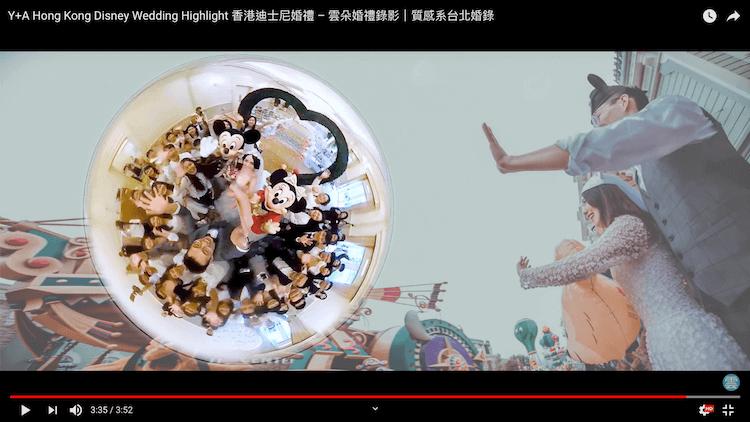 新人來賓們與迪士尼米奇米妮進場拍攝全景360合照