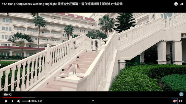 新娘婚鞋置於香港迪士尼樂園酒店樓梯