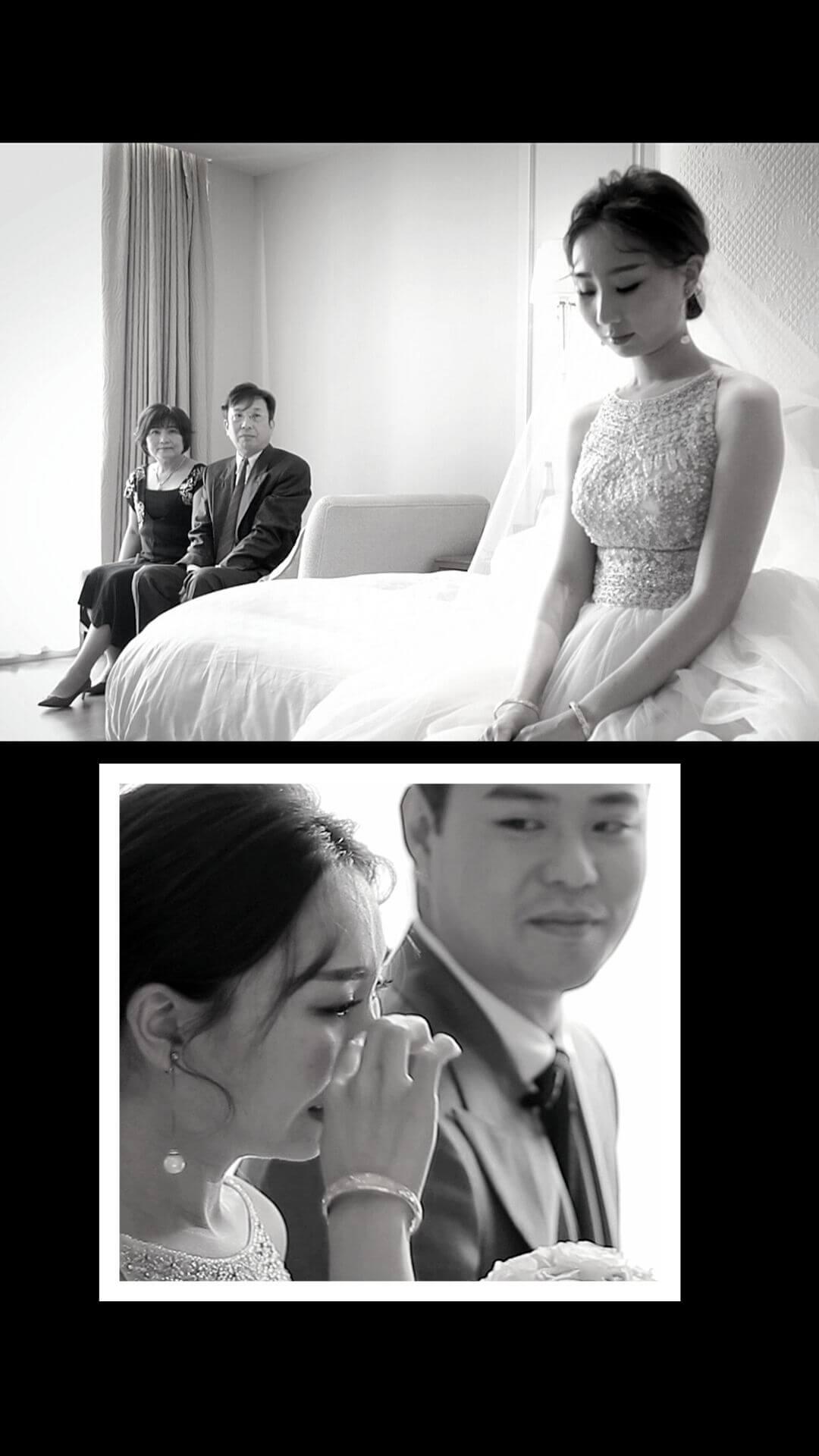 拜別新娘爸媽望向新娘,新娘難過哭泣