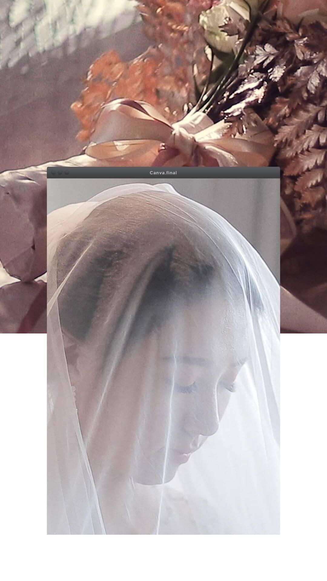新娘捧花與新娘蓋上頭紗